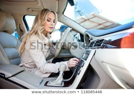 Kadın cd sarışın kısa saç beyaz tshirt Stok fotoğraf © jeancliclac