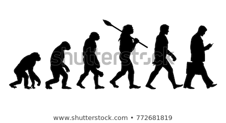 Menselijke evolutie illustratie zonsondergang natuur achtergrond Stockfoto © adrenalina