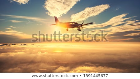 ストックフォト: 飛行機 · 飛行 · 翼 · 山 · 川