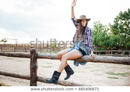 nő · mosolyog · boldog · amerikai · préri · visel · cowboykalap - stock fotó © deandrobot