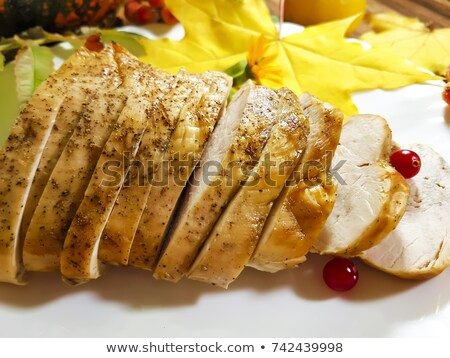 Plate with vegetables for roasted turkey. Dish with garnish for  Stock photo © MaryValery