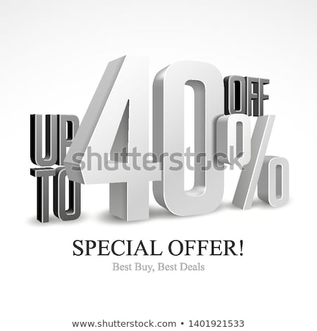 Stok fotoğraf: White Forty Percent Off Discount 40 3d Illustration