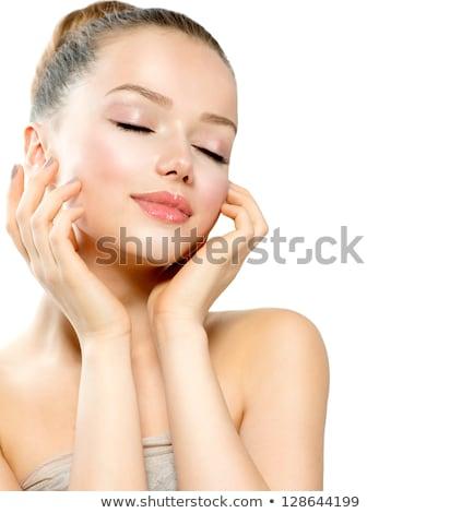 Portré gyönyörű lány kezek fej közelkép fehér Stock fotó © deandrobot