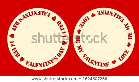 14 valentin nap piros bélyeg lenyomat szív alak Stock fotó © orensila
