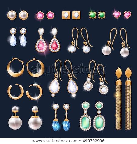Stock fotó: Gyönyörű · ékszerek · kellékek · ikon · szett · arany · ezüst