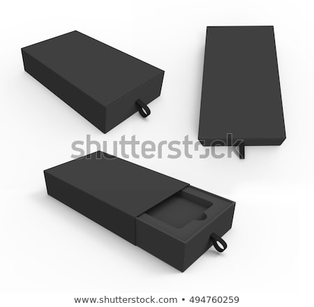 blank opened box package for mobile phone isolated on black background 3d illustration stock photo © tussik