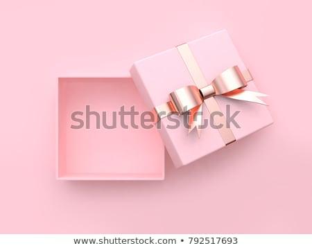 Foto stock: Caja · de · regalo · rosa · arco · aislado · blanco · papel