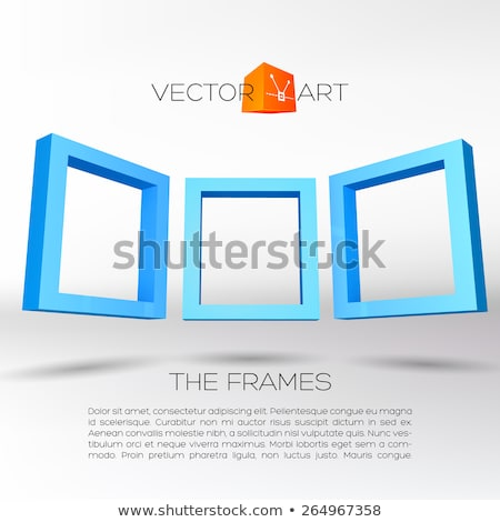 drie · Blauw · rechthoekig · 3D · frames · abstract - stockfoto © swillskill
