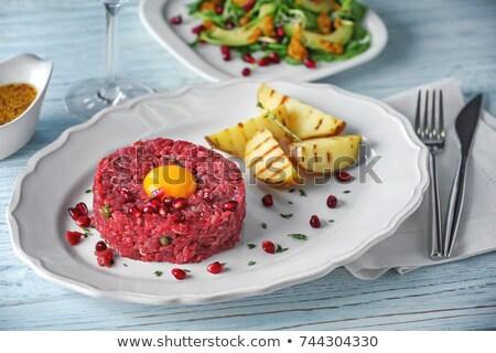 Steak nyers hús recept tojás tojássárgája Stock fotó © lunamarina