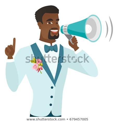Young african-american groom making announcement . Stock photo © RAStudio
