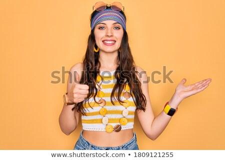 молодые кавказский хиппи женщину Palm Сток-фото © RAStudio