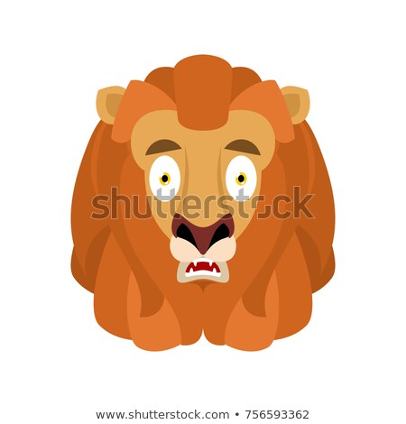 Stock photo: Lion Scared Omg Wild Animal Oh My God Emoji Frightened Beast