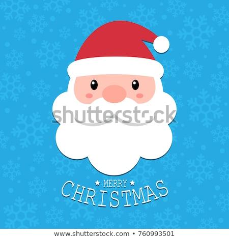 Święty mikołaj biały broda niebieski płatki śniegu gratulacja Zdjęcia stock © popaukropa