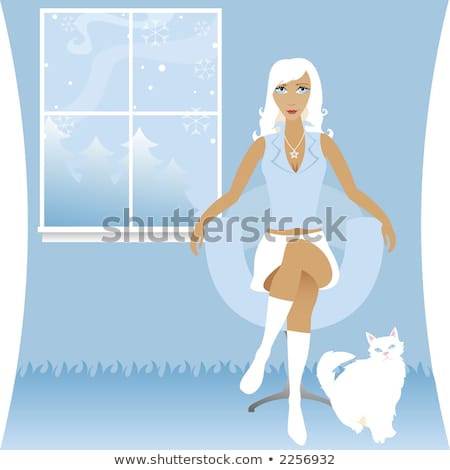 Woman sitting on chair in snowy scene Stock photo © IS2