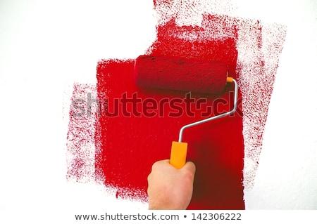 Rood verf schilder symbool huis bouw Stockfoto © djdarkflower
