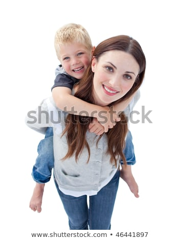 Parents giving children piggyback rides against close up of pink text my dad rules Stock photo © wavebreak_media