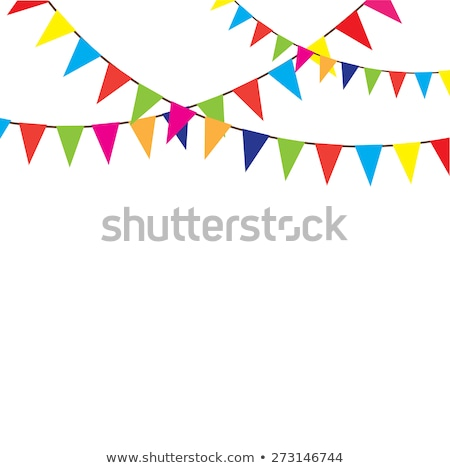 cute vector background with party bunting flags and dots stock photo © pravokrugulnik
