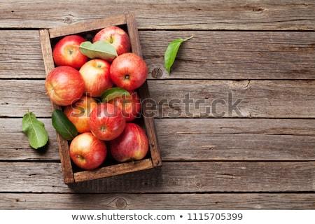 Rood · appels · tabel · houten · voedsel · appel - stockfoto © illia