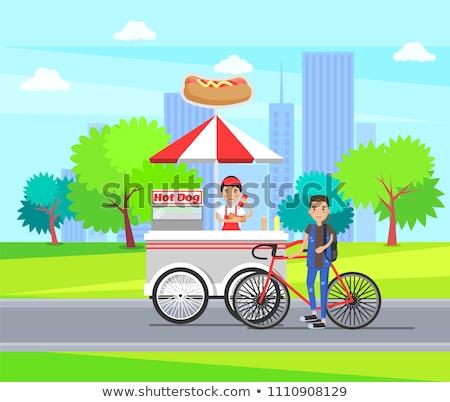 Sosisli sandviç alışveriş depolamak tekerlekler sosis Stok fotoğraf © robuart