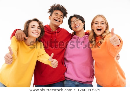 group of laughing multhiethnic students stock photo © deandrobot