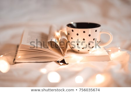 good morning breakfast on white bed sheets stock photo © illia