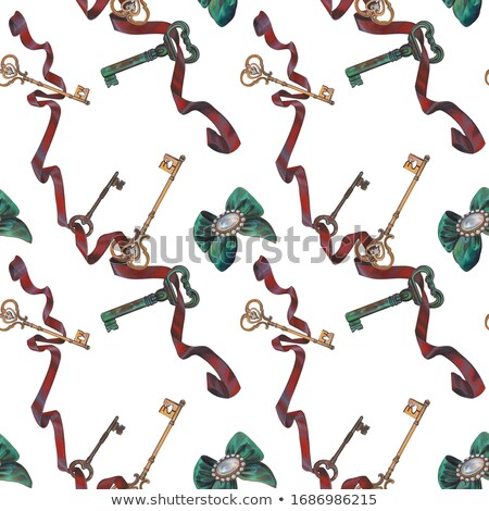 set of vintage multicolored keys isolated on white background vector cartoon close up illustration stock photo © lady-luck