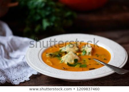 Pompoen soep rustiek voedsel kaas diner Stockfoto © zoryanchik