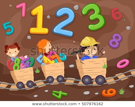 Kinderen trein math 123 illustratie paardrijden Stockfoto © lenm