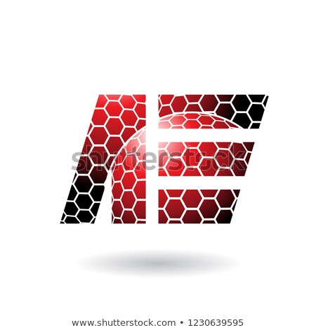 Red Letter E with Honeycomb Pattern Vector Illustration Stock photo © cidepix