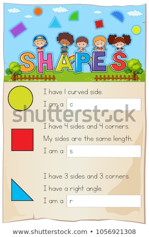 matemáticas · plantilla · formas · ilustración · ninos · estudiante - foto stock © colematt