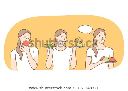 happy vegan girl with plate of fruits and vegetables vector isolated cartoon illustration stock photo © pikepicture