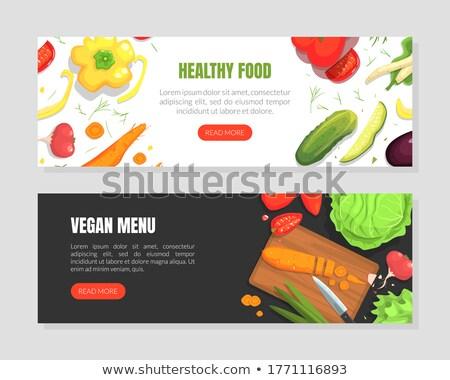 Veganistisch rauw voedsel app interface sjabloon witte Stockfoto © RAStudio