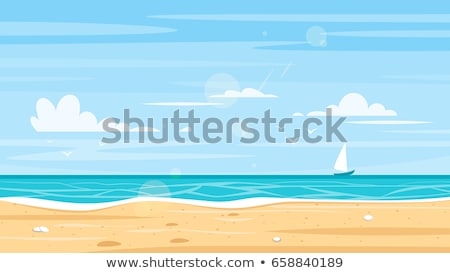 Seaside Sunny Beach Island Vector Illustration Stock photo © robuart