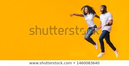 tam · uzunlukta · iki · heyecanlı · erkek · Afrika · arkadaşlar - stok fotoğraf © deandrobot