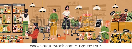 Kadın gıda sepet kavanoz bakkal satış Stok fotoğraf © dolgachov