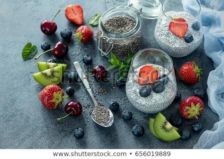 semente · pudim · fruto · mirtilos · extremo · raso - foto stock © galitskaya
