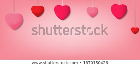 Stock photo: I Love You, Happy Valentines Day, red, pink and orange balloon in form of heart with ribbon and conf
