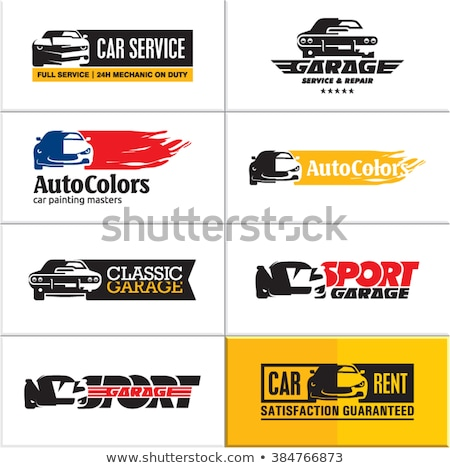 Color vintage car rent emblems Stock photo © netkov1