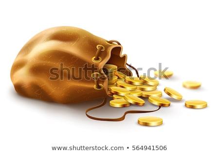 Золотые монеты открытых полный сумку изолированный белый Сток-фото © orensila