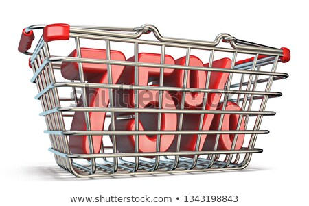steel shopping basket 75 percent sign 3d stock photo © djmilic