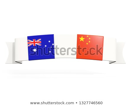 Banner with two square flags of Australia and china Stock photo © MikhailMishchenko