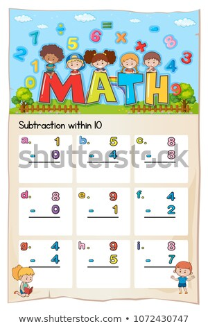 Math worksheet for subtraction within ten Stock photo © colematt