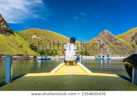 Young man enjoying the tranquil view of Padar Island during summer vacation Stock photo © Kzenon