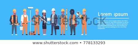 Banner With Female Contractor In Hard Hat Stock photo © feverpitch
