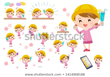 Fiesta establecer nina beber animado Foto stock © toyotoyo