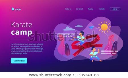 kinderen · vechtsporten · illustratie · witte · fitness · achtergrond - stockfoto © rastudio