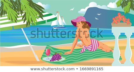 girl with towel on sand mountain landscape vector stock photo © robuart