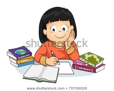 Kid Girl Notes Geography Books Illustration Stock photo © lenm