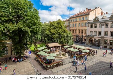 houses on a market square in Lviv Stock photo © borisb17