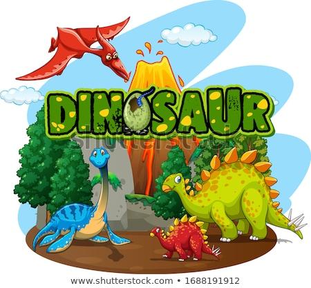 ステッカー デザイン 多くの 恐竜 森林 実例 ストックフォト © colematt